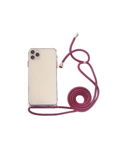 marstec Apple Iphone 11 Pro  Bordo Boyun Askılı  Şeffaf Telefon Kılıfı Bordo